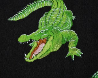 Alligators fabric cotton by the yard, green gators Timeless Treasures