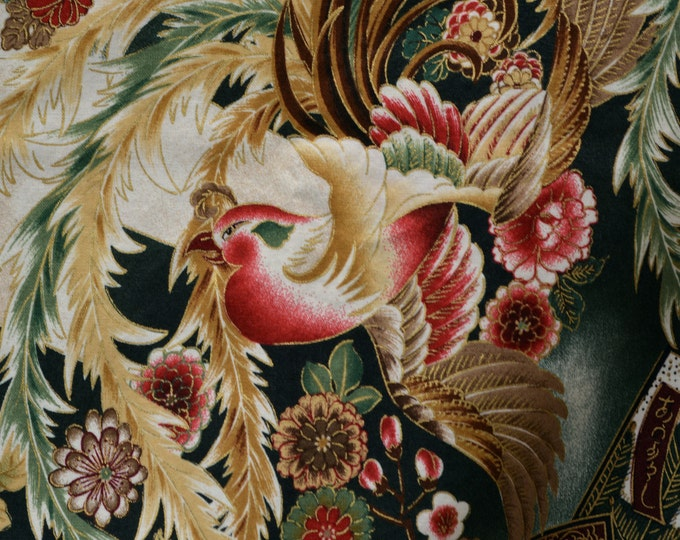 Robert Kaufman Imperial Collection Asian floral with bird tsuzumi
