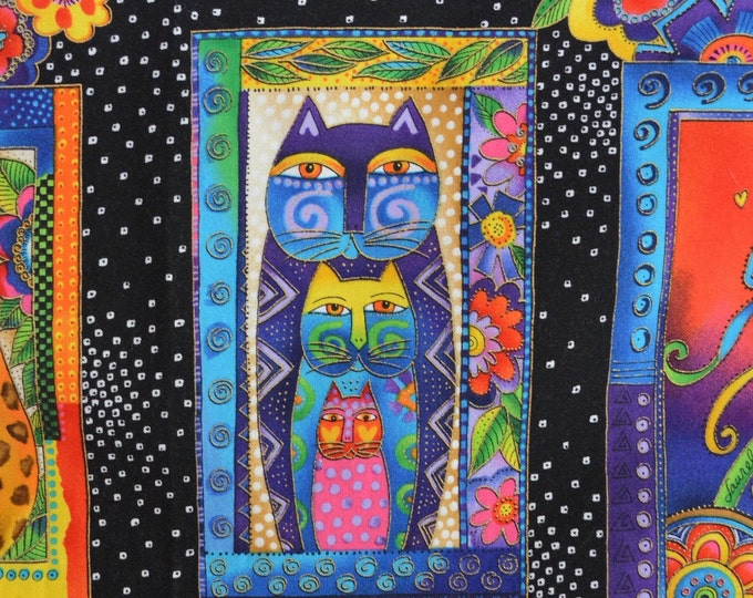 Laurel Burch cat fabric panels 2 panels fancy Fanciful Felines