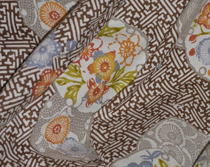 Japanese geometric Asian floral fabric 70s upholstery Jay Yang