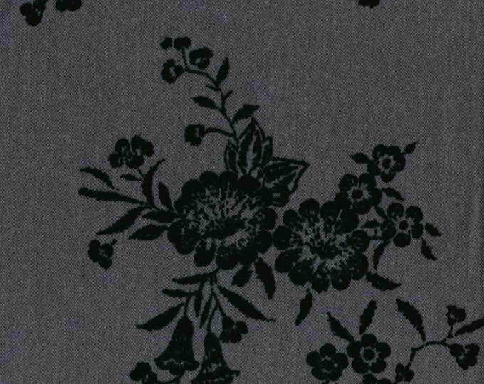 Vintage black floral flocked fabric by the yard, morning glory floral fabric