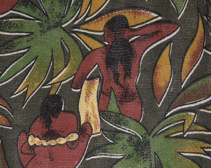 South Seas Hawaiian Tiki netting fabric Tahitian Paul Gauguin style