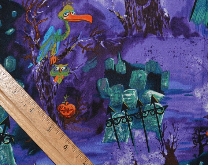 Vintage Halloween fabric with graveyard, vultures Shamash and sons