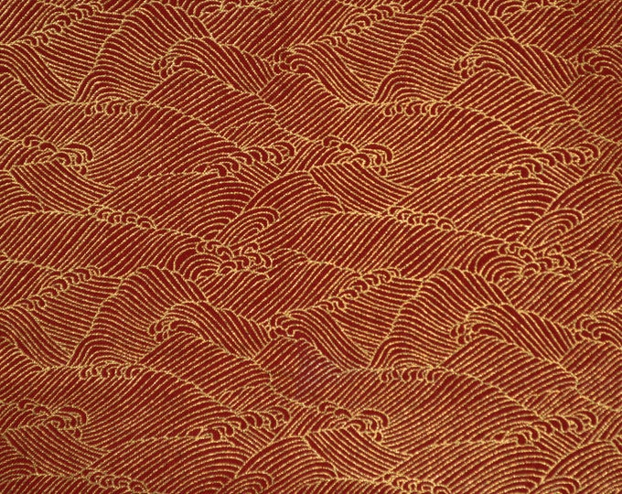 Asian fabric, Japanese wave fabric, with gold metallic,  Michael Miller