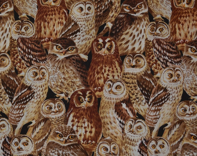 owl fabric Hoffman fabric for owl decor owl gifts owl quilt owl lover