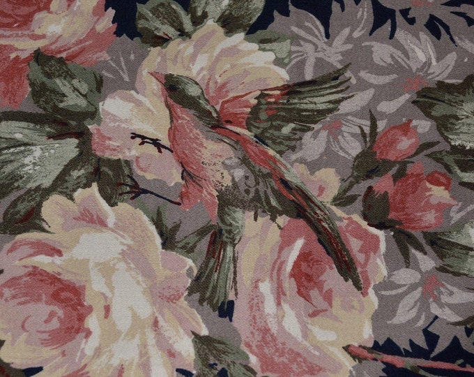 5th Avenue 80s decorator fabric Shabby Chic fabric floral bird with cottage roses