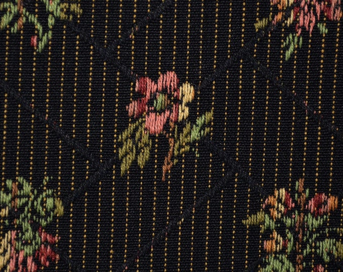 Black floral upholstery fabric woven roses jacquard fabric