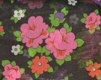 Sheer floral fabric mod floral 70s floral organza fabric