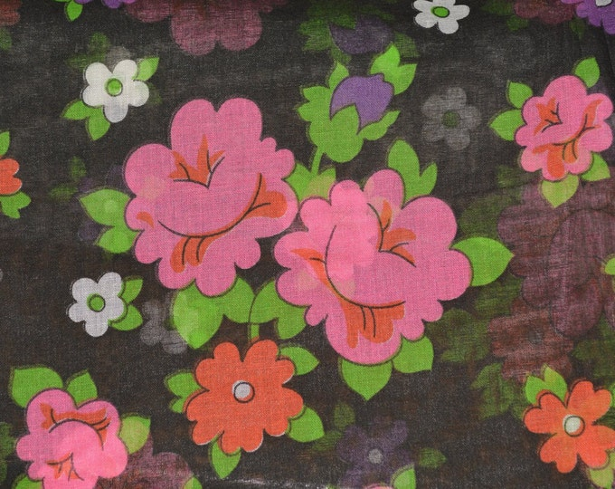 Black floral fabric sheer fabric with pattern open weave mod floral fabric