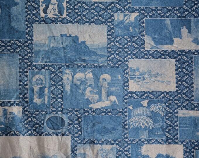 Picture nylon fabric vintage 70s fabric tricot nylon photo fabric