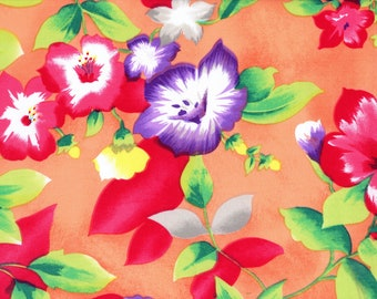 Tropical Hawaii floral fabric by the yard, cold rayon