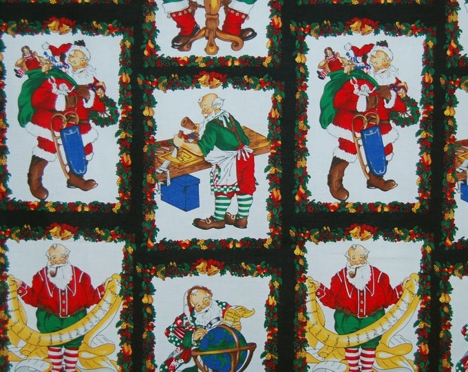 Santas workshop Christmas fabric out of print Alexander Henry