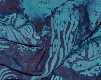 Tie dye Batik fabric, Indonesian tropical blue batik