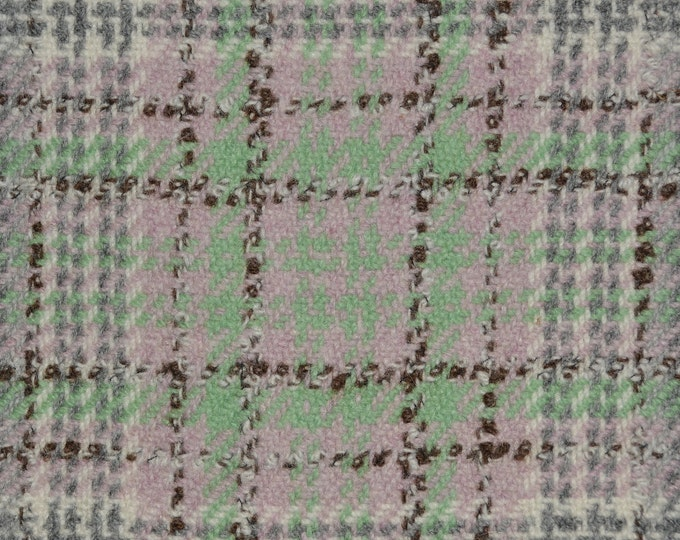 Vintage pure wool plaid fabric by the yard