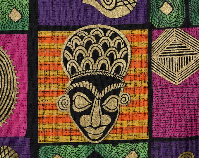African mask fabric vintage BTY Shamash and Sons