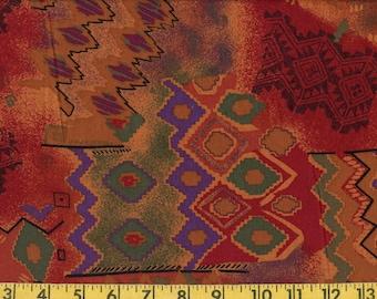Earth tone Southwest tribal print fabric by the yard, apparel width
