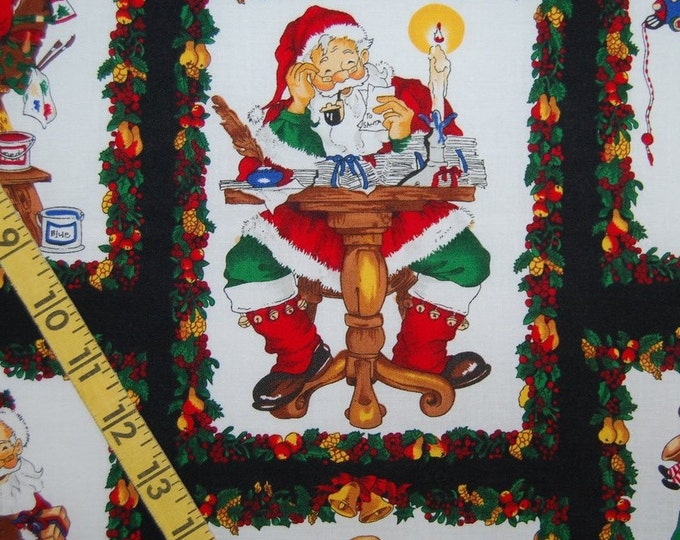 Santas workshop Christmas fabric 1990s Santa Claus fabric 2 yards plus Alexander Henry