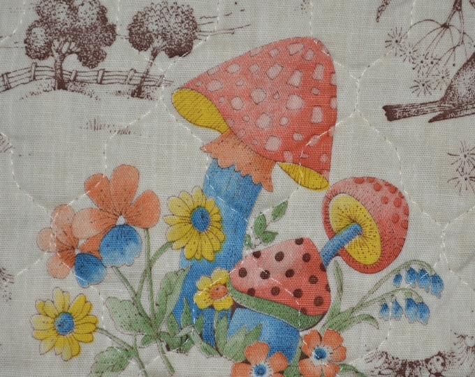 70s Vintage Mushroom ready quilted fabric double sided Concord fabric