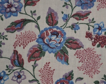 Country floral fabric by the yard Farmhouse floral fabric blue rose fabric