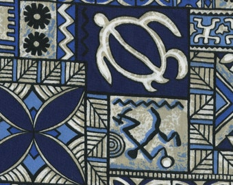 Hawaii vintage fabric Polynesian Tapa print