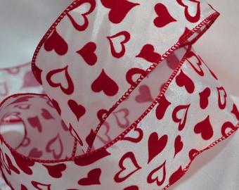 Flocked ribbon, flocked hearts red and white ribbon