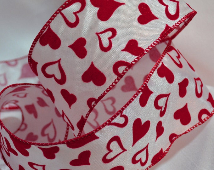 Flocked ribbon, flocked hearts red and white ribbon