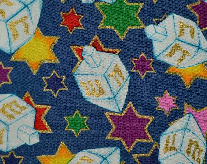 Hanukkah fabric, spinning dreidels, Star of David cotton fabric