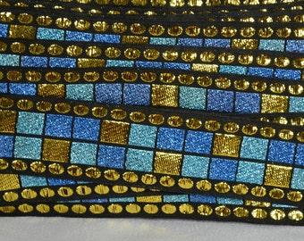 1960s costume trim Metallic gold and blue geometric trim