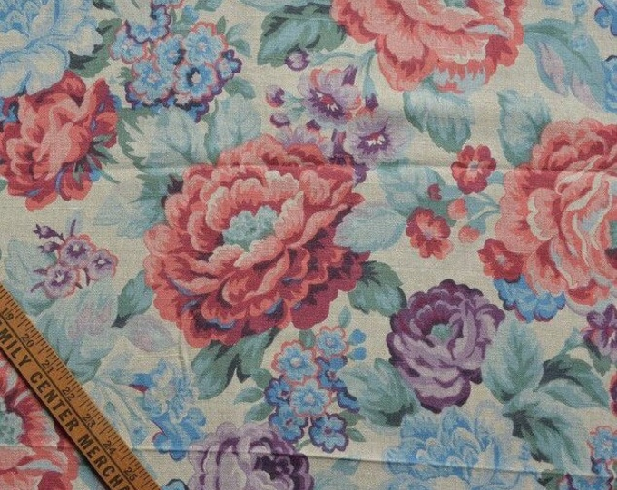 Cabbage Roses fabric Floral fabric floral linen fabric lavender floral Shabby Chic