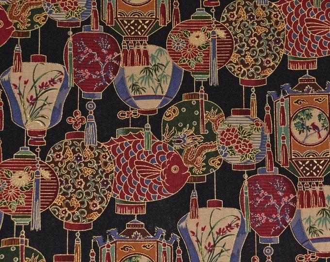 Japanese lantern fabric Asian fabric Japanese fabric Oriental lantern