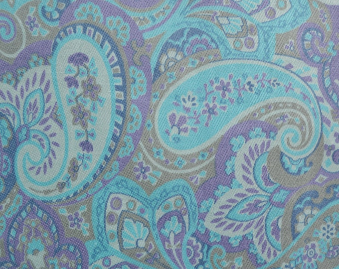 60s fabric Paisley print Light blue and lavender