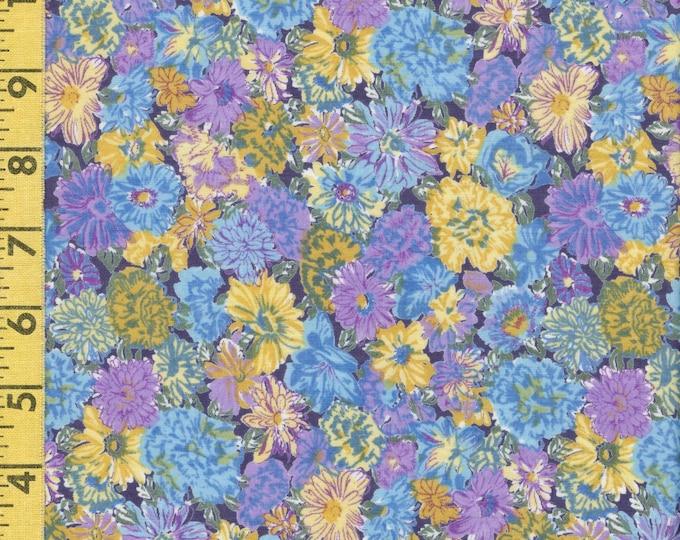Cotton voile Easter Spring floral fabric, lavender golden blue floral