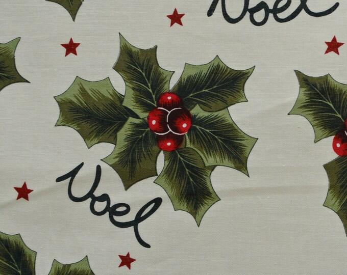 Christmas fabric by the yard Noel Christmas holly Christmas words David Textiles
