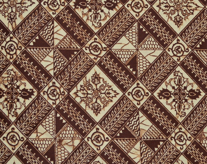 70s fabric, Indonesian tribal Batik print fabric