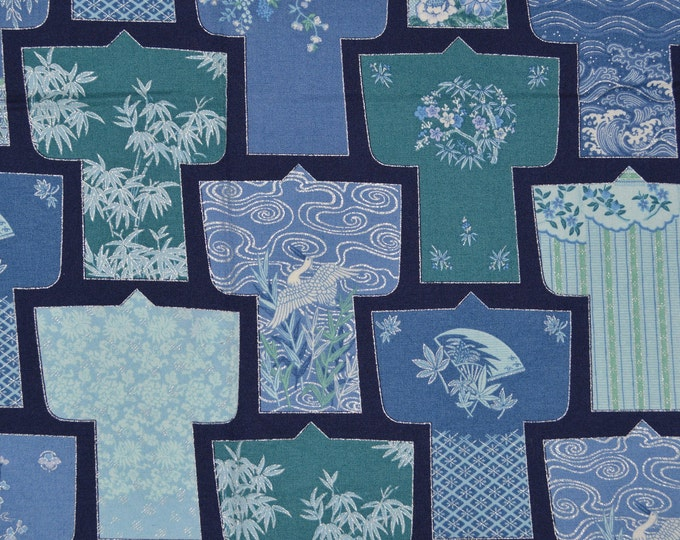 Japanese kimono fabric Blue Japanese fabric Japanese quilt fabric 1 yard