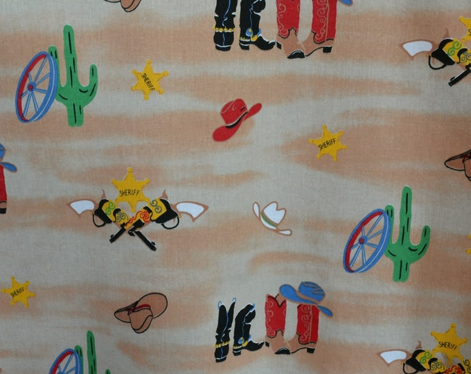Little cowboy western fabric from Richloom fabric 90s old west fabric