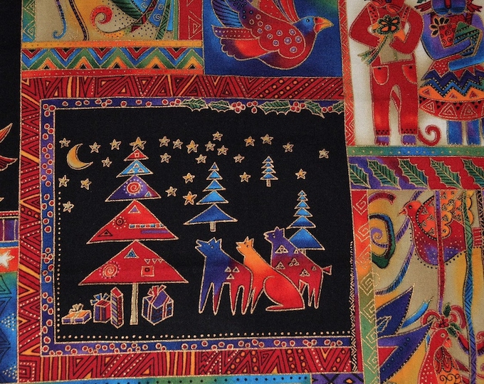 Laurel Burch fabric cats Christmas panel festive felines Clothworks