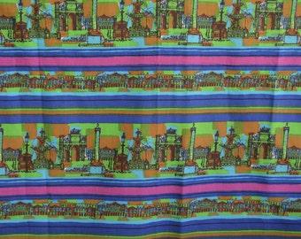 Striped border fabric, Midcentury cityscape print