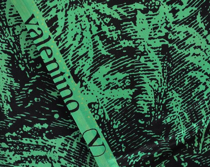 Valentino Designer Silk Italian Silk Satin Fabric Black Green