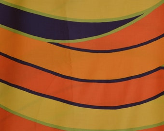 Vintage 70s mod fabric multi color orange stripe wavy stripes