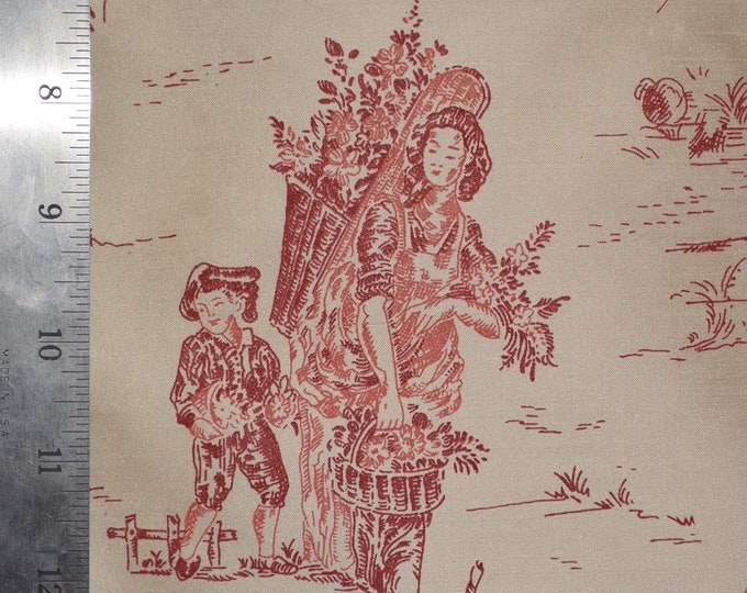 Rare French silk fabric red toile de jouy fabric