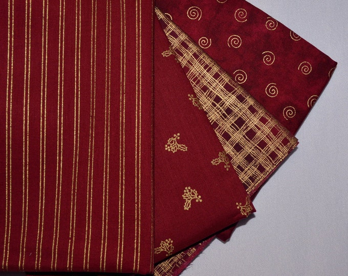 Christmas fabric bundle, blender fabric lot, brick red and gold patterned