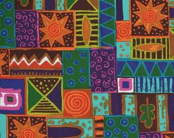 Alexander Henry rare fabric tribal print fabric turquoise orange green ethnic print geometric