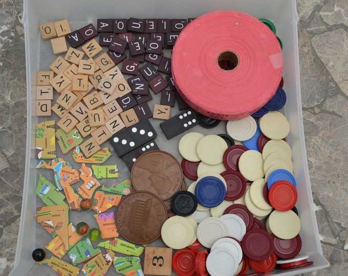 Mixed media and collage supplies, vintage dominoes