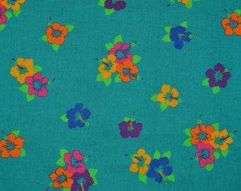 Vintage Hawaii floral fabric, hibiscus Hoffman California