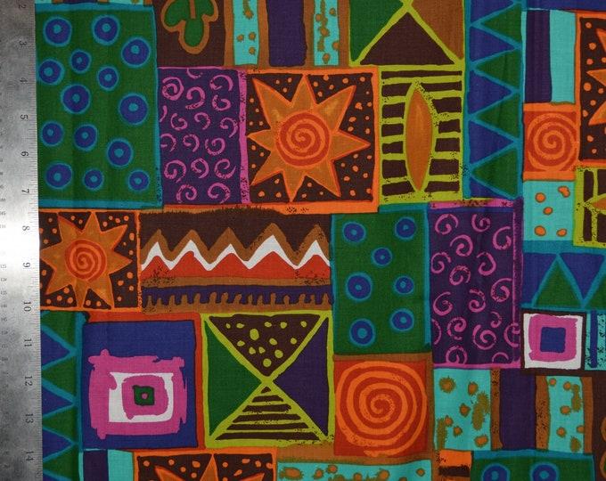 Ethnic tribal geometric fabric OOP Alexander Henry vintage