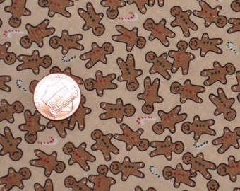 Miniature fabric print gingerbread men fabric Christmas fabric
