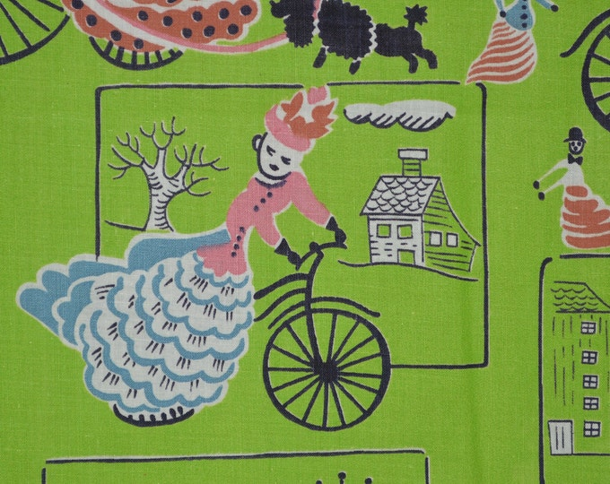 Vintage novelty fabric 40s fabric 36 wide with Victorian bicycles