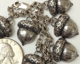 Vintage charms sterling acorns charms bracelet