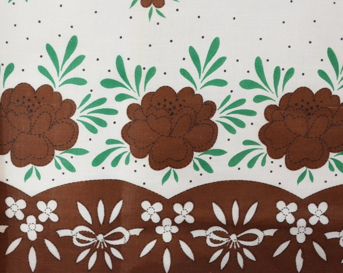 Vintage floral fabric, apron border fabric, folk art fabric with brown flowers for aprons